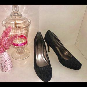 Madden Girl Black Sparkle Closed Toe Heels